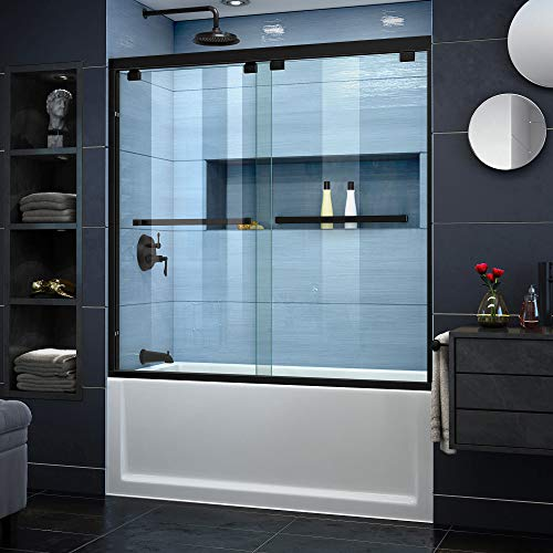 DreamLine Encore 56-60 in. W x 58 in. H Semi-Frameless Bypass Tub Door in Satin Black, SHDR-1660580-09
