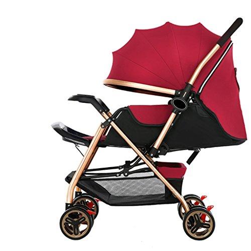 LICHUAN Sistema de viaje de lujo cochecito de bebé ligero de alto paisaje Cochecito portátil plegable paraguas cochecito de bebé en el cochecito de avión (color: rojo)