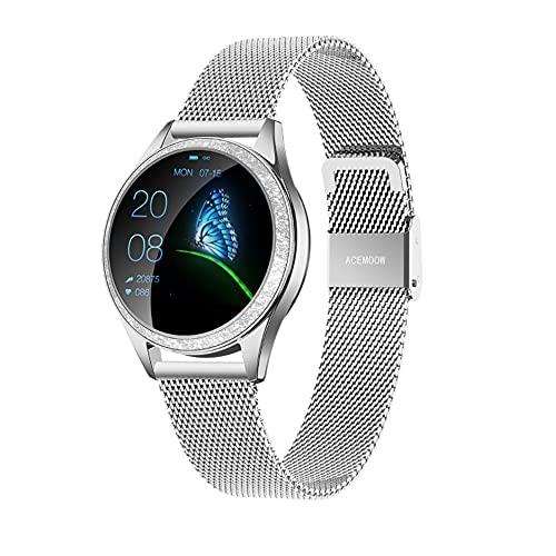 IP68 Fitness Tracker Watch – Smart Watch Bluetooth Podómetro Contador de Pasos Pulsera Inteligente Relojes para Mujeres Llamada SMS Push Android iOS (Plata)