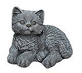 Steinfigur Katze sitzend - Schiefergrau