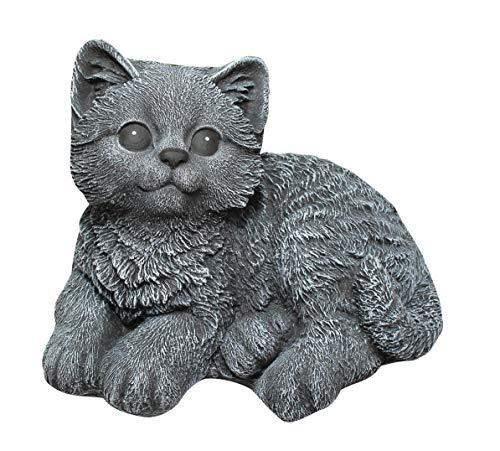 Tiefes Kunsthandwerk Steinfigur Katze sitzend - Schiefergrau, Garten, Deko, Stein, Figur, Frostsicher