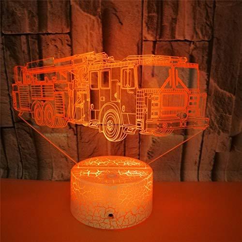 3D Illusion Nuit Lumière Led Veilleuse Lampe,Style De Camion De Pompier Optiques Illusions Lampe 7 Couleur Tactile Lampe Art Décor Pour Chambre Chevet Table Enfants Cadeau Noël Fête Anniversaire