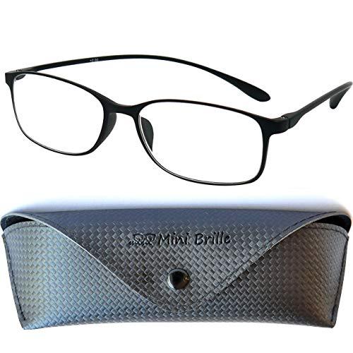 Flexible Lesebrille mit Ovalen Gläsern, Leichten TR 90 Rahmen (Schwarz), GRATIS Brillenetui und Brillenputztuch, Lesehilfe Damen und Herren +2.0 Dioptrien