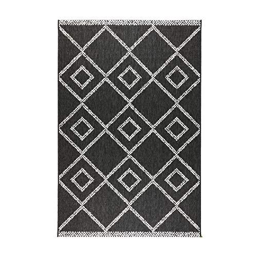 havatex Flachgewebe Teppich Olivia - Anthrazit/Weiß | robuste Kunstfaser | Indoor & Outdoor | modern & zeitlos kariert, Farbe:Anthrazit, Größe:80 x 150 cm