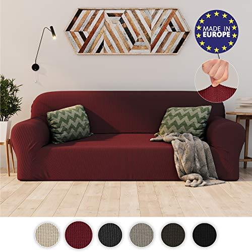 Dreamzie Dehnbarer Sofaüberwurf 3-Sitzer Bordeaux - Zertifiziert Chemikalienfrei, Sofahusse aus recycelter Baumwolle - Schützt Sofas vor Flecken - Elastischer Sofabezug In Europa Hergestellt