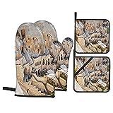 Juego de Manoplas y Porta ollas para Horno,Hoteles en Capadocia Carved Stone Rock Cave,Guantes y agarraderas Resistentes al Calor para cocinar,Hornear,Asar,Servir,Barbacoa o Cena,Decorativo de Cocina