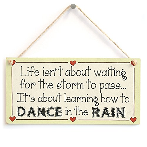 Meijiafei Life Isn't About Waiting for The Storm to Pass It's About Learning How to Dance in The rain – Motivationsschild, 25,4 x 12,7 cm