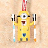 Z-NING Cartoon Minion Dispensador automático de pasta de dientes, soporte para cepillo de dientes, productos creativos, accesorio de baño, apuntador de pasta de dientes, color amarillo claro