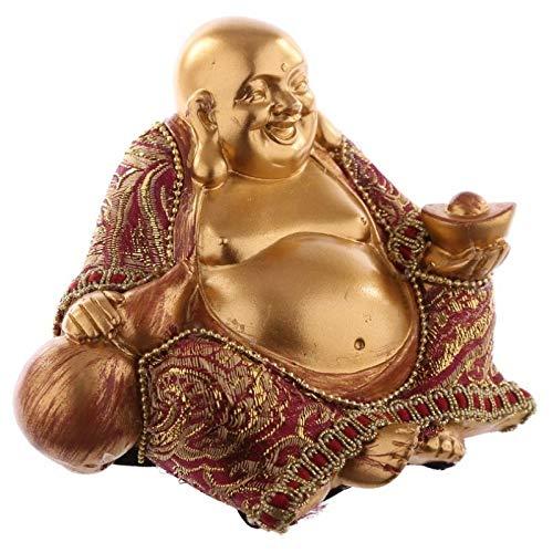 bick.shop Buddha Figur Gold mit Stoff Statue buddafigur feng Shui Buddhismus großer Budda