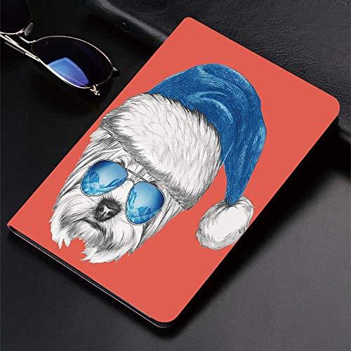 Funda para iPad (24.638cm, modelo 2018/2017, 6.a / 5.a generación) Funda inteligente ultradelgada y ligera, Yorkie, Terrier con gorro de Papá Noel azul y gafas de aviador con espejo Fun Hand Dr, funda