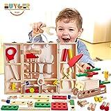 Buyger Caja de Herramientas de Madera Juguetes Construcciones Bricolaje Kit Juegos de Imitación Educativos Regalo para 3 4 5 Años Niños