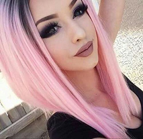 AISI HAIR Ombre Pink Wigs Straight Short Length Cosplay Costume Wigs for Women Middle Part Wigs Dark Roots Synthetic Wigs