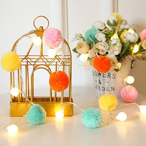 20 luces LED de cadena de 3 m, bolas de pompones navideñas para interiores, decoración de dormitorio, fiesta (blanco cálido)