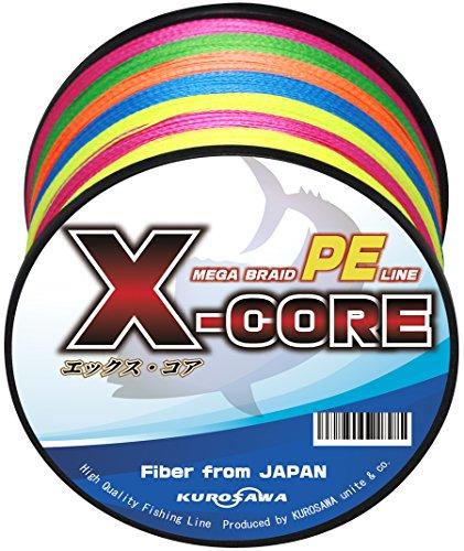 KUROSAWA PEライン X-CORE (5色マルチカラー 200m(4編), 3号(40lb/18.1kg))