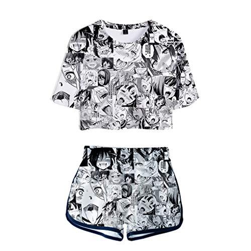 Memoryee 3D Ahegao Anime Impreso 2019 Mujeres Verano Conjuntos de Dos Piezas Moda Harajuku Crop Top de Manga Corta + Shorts Casual Anime Girls Ropa Sexy