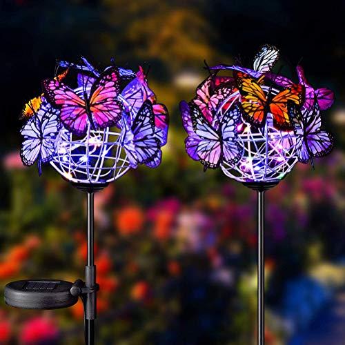 Daxoon Solar Schmetterlinge Lichter 2PCS Outdoor Solar Gartenstecker Gartenleuchten Buntes LED-Licht für Außen,Garten,Terrasse,Rasen
