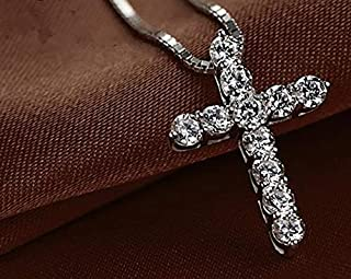 Nattaphol Cross Necklace Accessory Ture 925 Sterling Silver Women Crystal CZ Pendants Necklace Jewelry