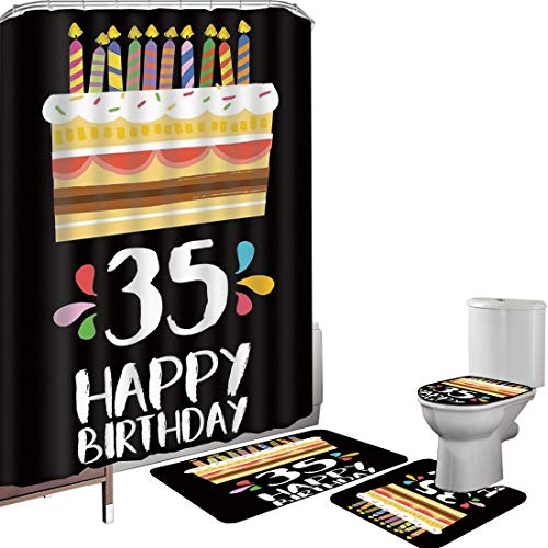 Shower Curtain Set Bathroom Accessories Carpet Set 35th Birthday Decorations Bath Mat Contour Rug Toilet Cover Celebration Card Design Thirthy Five Fun Art Style Cake Candles,Multicolor Non-Slip Water