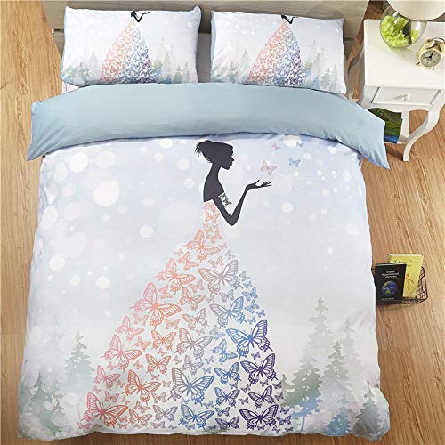 BSZHCT Bedding 78.7x78.7 inch Light blue butterfly girl Duvet cover set King bed 3 pcs with Zipper Closure with 2 Pillow covers Ultra Soft Hypoallergenic Microfiber Quilt Cover Sets