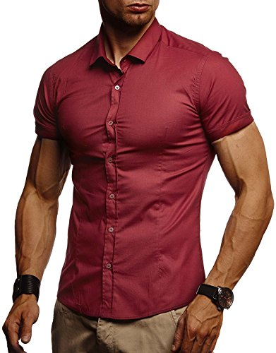 Leif Nelson Herren weißes Hemd Slim Fit Kurzarm Schwarzes Männer Stretch Kurzarmhemd Freizeithemd Jungen Kurzarmshirt Sommerhemd Business T-Shirt Freizeit Party LN3520 Bordeaux Large