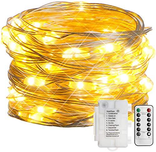 KooPower 4Stk 50LED Batterie Silberdraht Lichterketten mit Fernbedienung und Timer, 8 Modi DIY Lichterkette mit IP65 Wasserdicht für Weihnachten, Garten, Hochzeit, Außen und Inhen Dekoration-Warmweiß