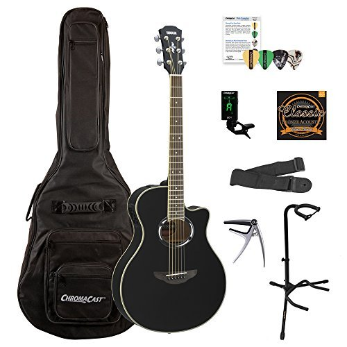 Yamaha APX500III Thinline Cutaway Acoustic-Electric Guitar with Gig Bag and Accessories, Black