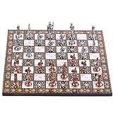 SYXZ Juego de ajedrez de Metal con Figuras de Roma, Tablero de ajedrez Hecho a Mano de Madera con diseño de Mosaico, Regalo para niños Adultos,30x30x1.2 cm