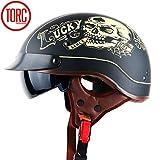 YXNB® Brain-Cap · Halbschale Jet-Helm Motorrad-Helm, Matt Black Motorrad Half Helm mit Drop Visier...