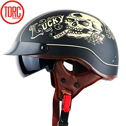 YXNB® Brain-Cap · Halbschale Jet-Helm Motorrad-Helm, Matt Black Motorrad Half Helm mit Drop Visier für Cruiser Chopper Biker Lucky Skull, DOT Zertifizierung,M57~58cm