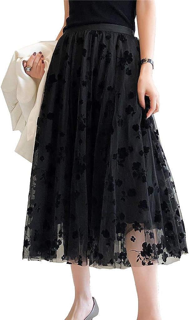 Womens Tulle Tutu Skirt Elastic High Waist Layered Skirt Floral Print Mesh Pleated Swing A-Line Midi Mini Skirt Dresses (Black, One Size)