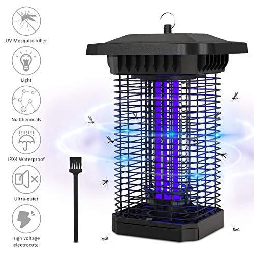 BACKTURE Zanzariera Elettrica, 18W UV Lampada Antizanzare Elettrico IPX4 Impermeabile, Tensione 4000V Trappola Zanzare Silenziosa da Esterno e Interno per Casa Giardino Patio Cucin
