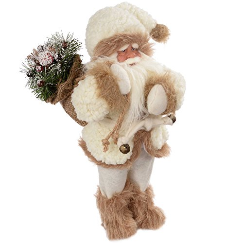 WeRChristmas Standing Santa with Gift Sack in Fur Outfit Decoration - 30 cm, White/Brown