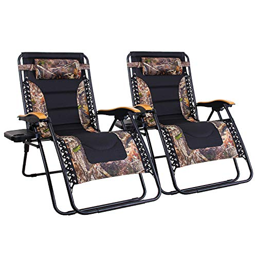 MFSTUDIO Oversized Zero Gravity Chair XL Patio Recliners Padded Folding Chair with Cup Holder, Extra Wide Chaise Lounge for Poolside Outdoor Yard Beach, Set of 2 - Camouflage