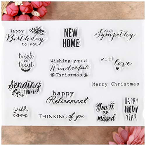 KWELLAM Words Merry Christmas New Home with sympathy Happy Birthday Clear Stamps for Card Making Decoration and DIY Scrapbooking