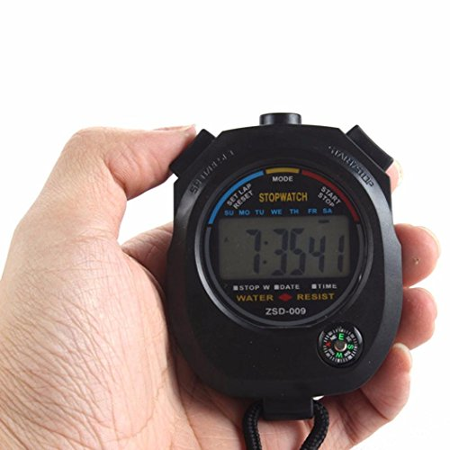 squarex Wasserdicht Digital LCD Stoppuhr Chronograph Timer Zähler Sport Alarm, damen, schwarz, AS Show