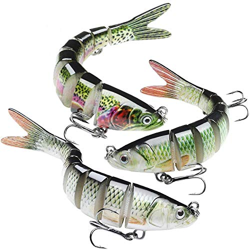 GOTOUR Bass Fishing Lures, Topwater Swimming Lure, Lifelike Multi Jointed Swimbait, Hard Bait for Trout Perch Pike, Freshwater Saltwater