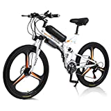 Hyuhome Vélo électrique Pliable Vélo De Montagne électrique pour Adultes 350W, 26 Pouces Velo Electrique avec Batterie Amovible 10ah, Professionnel 21 Vitesses, Double Absorption des Chocs (Orange)