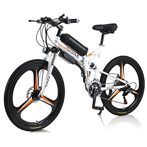 Hyuhome Electric Bike 350W 36V Adult Electric Mountain Bike,High carbon steel Alloy Ebikes Bicycles All Terrain,26' Electric Bicycle Commuting E-Bike,Folding bicycle (white)