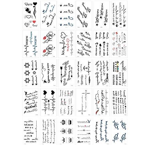 30 Blatt Temporär Tätowierung Schwarz Tattoo, Wasserdichtes Schwarzes Kleines Temporäres Tattoo, für Hand Hals Arm Schulter Brust, Wort, Herzschlag, Symbol Tattoos, für Erwachsene Männer Frauen Kinder