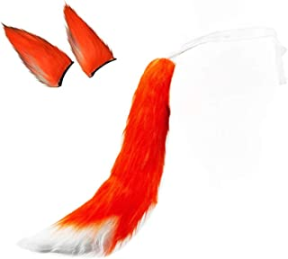 Plush Fox Tail and Ears Hair Clips Faux Fur Fluffy Tail Cosplay Dress Up Kits Accessories(22