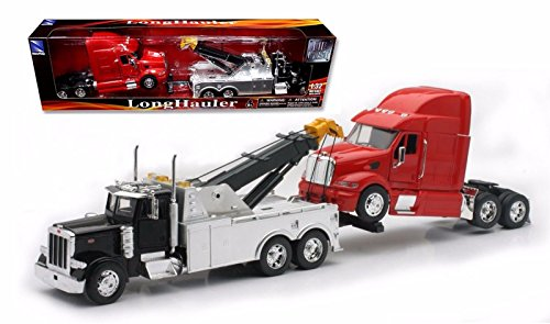 New Ray SS-12053 Toys 1: 32 Scale Peterbilt Tow Truck with Red Peterbilt Cab Semi Truck