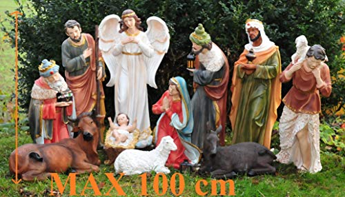100 cm fast lebensgroße Krippenfiguren im Set, Standfiguren in 100 cm mit Deko, 12 -tlg. SET, ausgeprägte Mimik, Komplettset mit Engel, Schäfer, Hirte mit Schaf/Schafe und Ziegen, Ochs und Esel