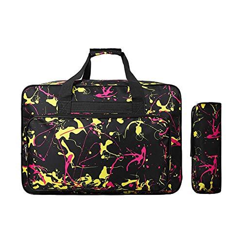 Bolsa para máquina de coser, bolsa de transporte universal de nailon, funda de almacenamiento acolchada universal con bolsillos y asas 18.11x12.99x9.84in negro