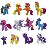 12 unids / Set Dibujos Animados Lindo Rainbow Dash Caballo Vinilo Figura de acción Tierra Ponis Caballo Modelo Juguetes para niños