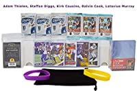 Minnesota Vikings Ultimate Football Cards Gift Pack: Adam Thielen, Kirk Cousins, Steffon Diggs, Dalvin Cook, Latavius Murray + 6 Packs, 100 Sleeves, 25 Cases, 800 ct Box, Wristbands