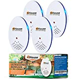 BH-1, 4 Pack - Ultrasonic Pest Repeller - Electronic & Ultrasound, Indoor Plug-in Repellent - Get rid of - Rodents, Mice, Rats, Squirrels, Bats, Insects, Bed Bugs, Ants, Fleas, Spiders, Roaches!