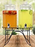 Estilo Hammered Glass Double Beverage Drink Dispenser On Stand...