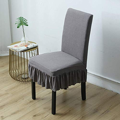 1/2/4/6pcs Solid Color Dining Waterproof Chair Cover h Elastic Back Chair Slipcover Case for Chairs Kitchen Banquet-Light gray,1PC