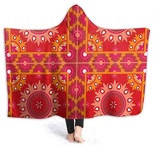 Manta portátil para hombres y mujeres, cuadros artísticos orientales con elementos decorativos asiáticos, azulejo simétrico, súper suave y cálida manta con capucha de 127 x 106 cm