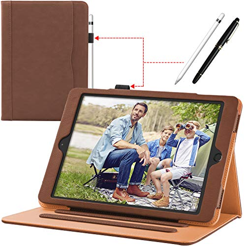 New iPad 9.7 inch 2018/2017 [ 6th / 5th Generation ] Leather Case with Apple Pencil Holder, Corner Protection, Stand Folio Cover Case and Auto Wake/Sleep, Also Fit iPad Air 2/iPad Air, Brown
